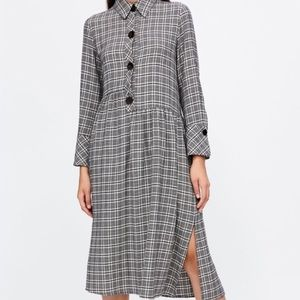 Zara basic plaid shirt dress small black long